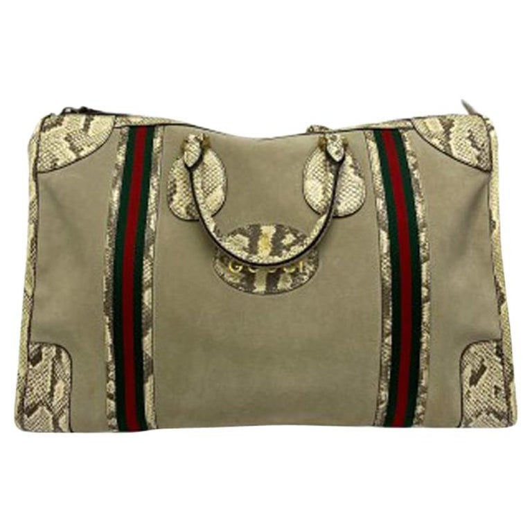 Gucci Duffle Travel Bag in Beige Suede with Python and Golden Hardware For Sale