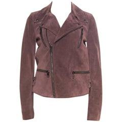 Gucci Dull Purple Suede Biker Jacket S