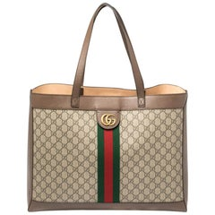 Gucci Ebony/Beige GG Supreme Canvas and Leather Medium Ophidia Soft Tote