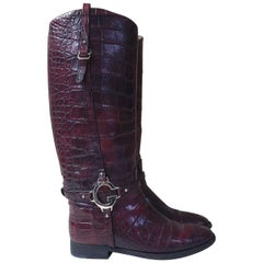Gucci Eggplant Crocodile Riding Boots