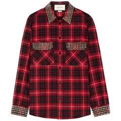 Gucci Embellished Plaid Cotton Flannel Shirt