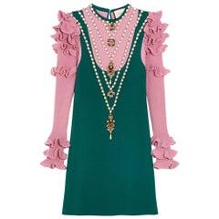 GUCCI Embellished Wool Blend Mini Dress Medium