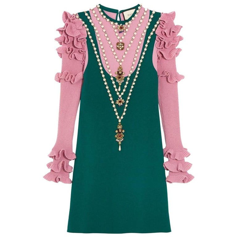 194f5ffe8 GUCCI Embellished Wool Blend Mini Dress Medium For Sale at 1stdibs