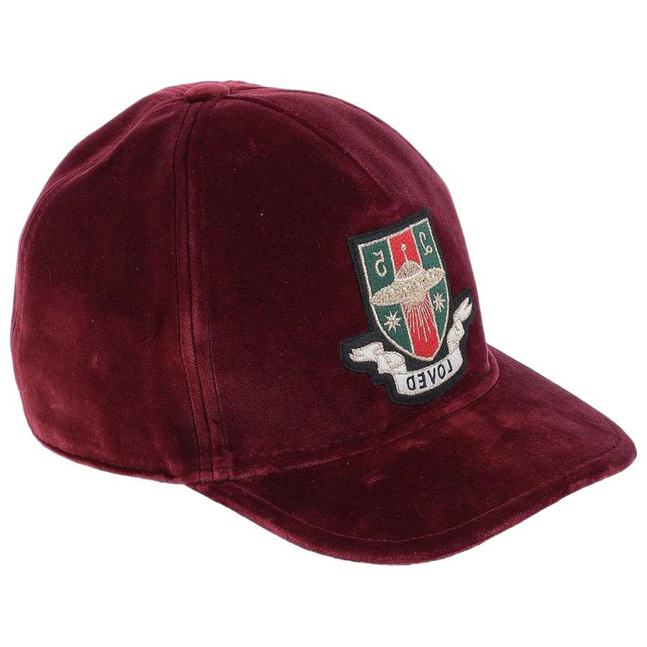 Gucci Embroidered Cotton Velvet Baseball Hat