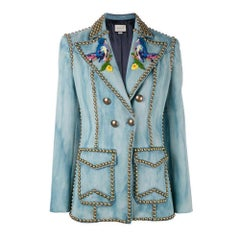 GUCCI Embroidered Denim Jacket with Studs IT42 US 6-8
