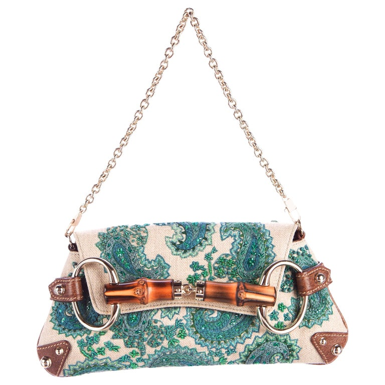 Gucci Embroidered Paisley Canvas Leather Horsebit Bamboo Detail Flap Bag Clutch For Sale