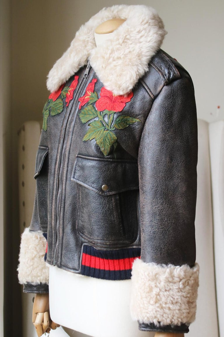 Black Gucci Embroidered Shearling-Lined Leather Bomber Jacket For Sale
