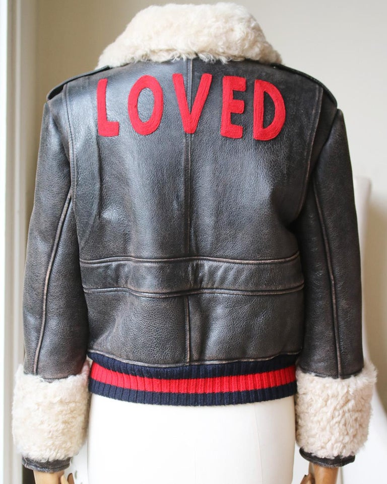 Gucci Embroidered Shearling-Lined Leather Bomber Jacket In Excellent Condition For Sale In London, GB