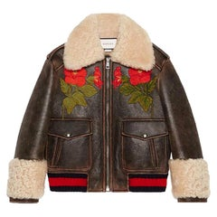 Gucci Embroidered Shearling-Lined Leather Bomber Jacket