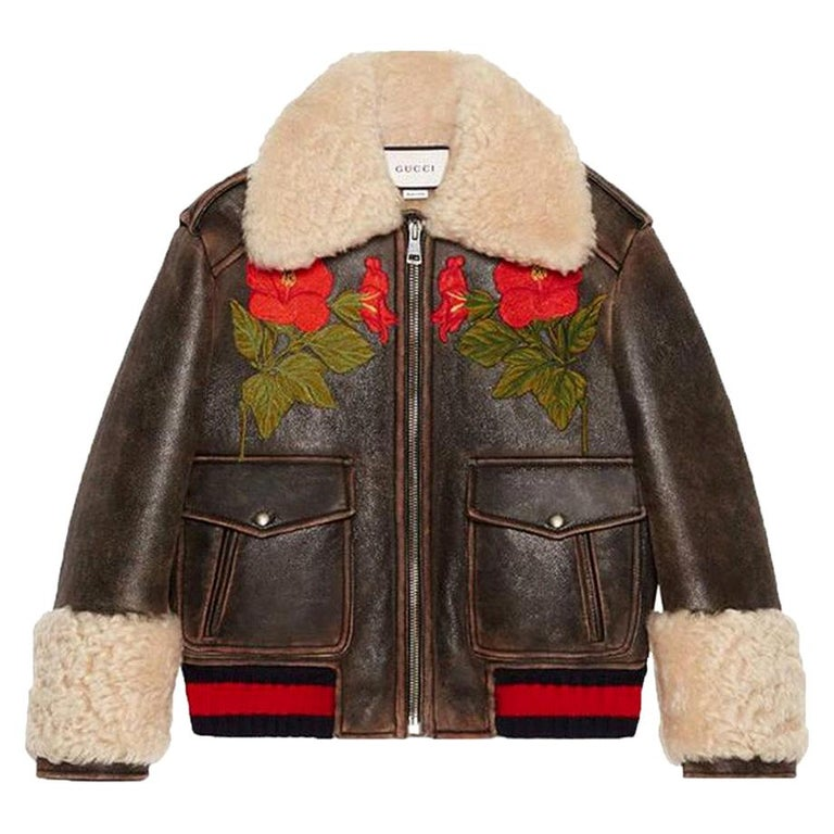 Gucci Embroidered Shearling-Lined Leather Bomber Jacket For Sale