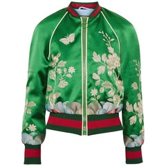 Gucci Embroidered Silk-Satin Bomber Jacket