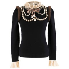 Gucci Embroidered Wool Knit Top with Mink Fur US 0-2