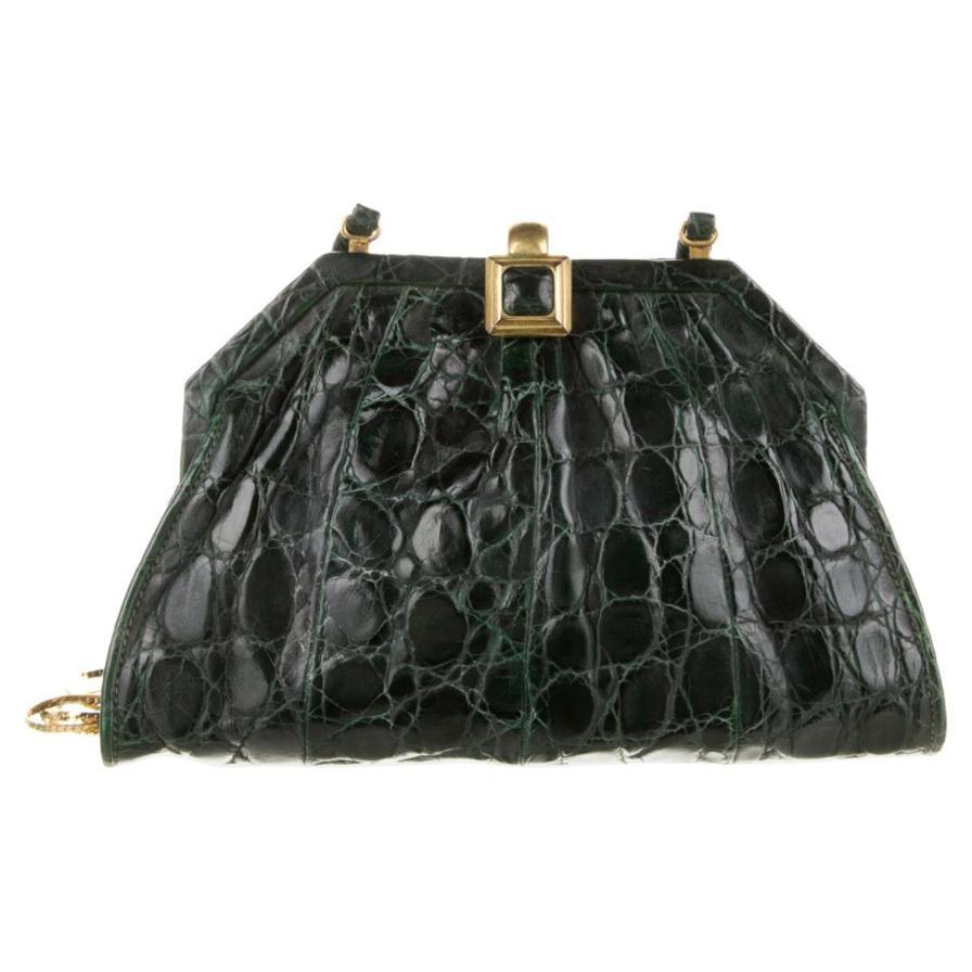 Gucci Emerald Green Alligator Exotic Small Evening Pochette Shoulder Clutch Bag