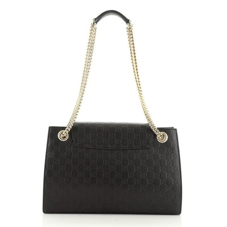 Gucci Emily Chain Flap Shoulder Bag Guccissima Leather Large In Good Condition In New York, NY