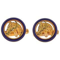 Gucci Enamel Gold Horse Head Equestrian Cufflinks