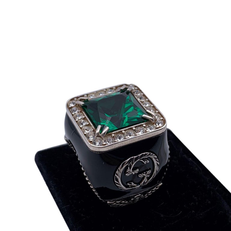 Square Cut Gucci Enamel Sterling Silver Green Crystals Ring Size 11 Never Worn For Sale