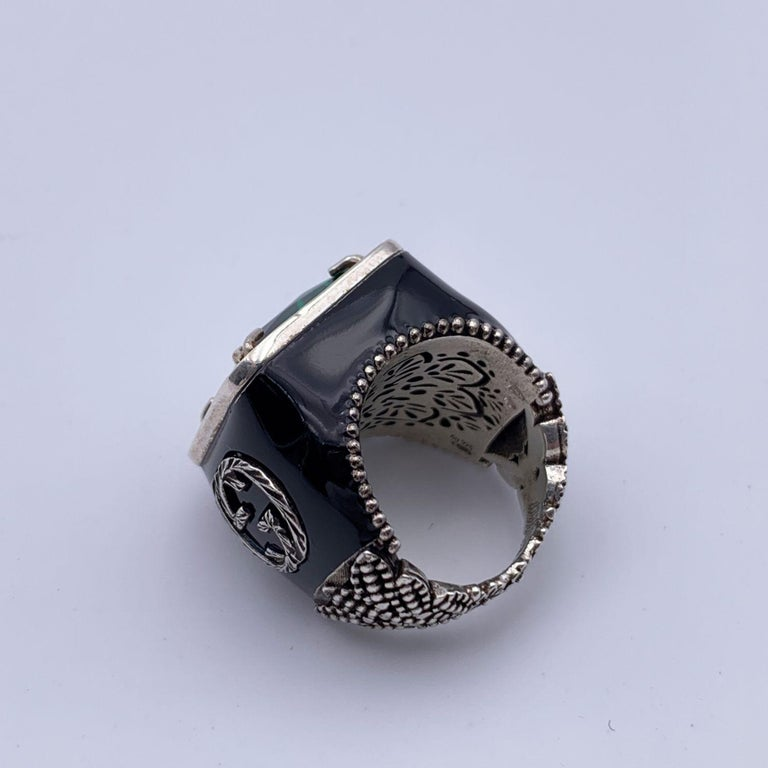Gucci Enamel Sterling Silver Green Crystals Ring Size 11 Never Worn In New Condition For Sale In Rome, Rome