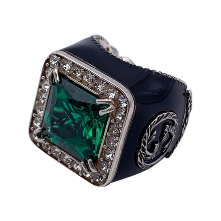 Gucci Enamel Sterling Silver Green Crystals Ring Size 11 Never Worn For Sale