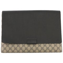 5c1087dea99 Gucci Envelope Clutch GG Canvas and Leather Large