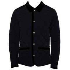Gucci Equestrian Black Velvet Trim Detail Quilted Jacket M