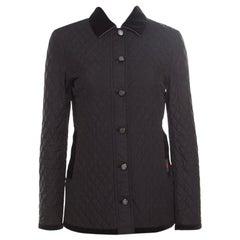 Gucci Equestrian Black Velvet Trim Detail Quilted Jacket S