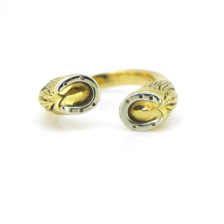 Modern Gucci Equestrian Horseshoe Yellow White Gold Fashion Ring For Sale