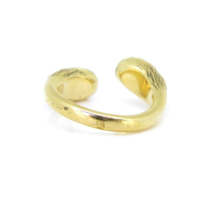 Women's or Men's Gucci Equestrian Horseshoe Yellow White Gold Fashion Ring For Sale