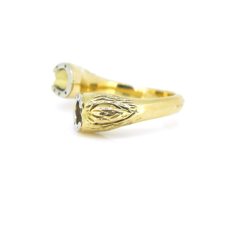 Gucci Equestrian Horseshoe Yellow White Gold Fashion Ring For Sale 1