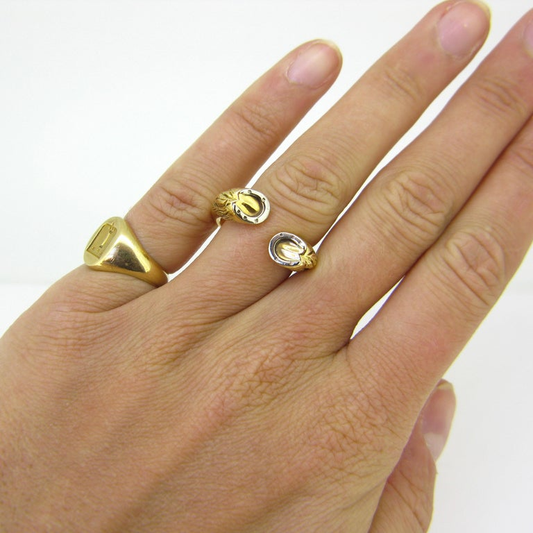 Gucci Equestrian Horseshoe Yellow White Gold Fashion Ring For Sale 2