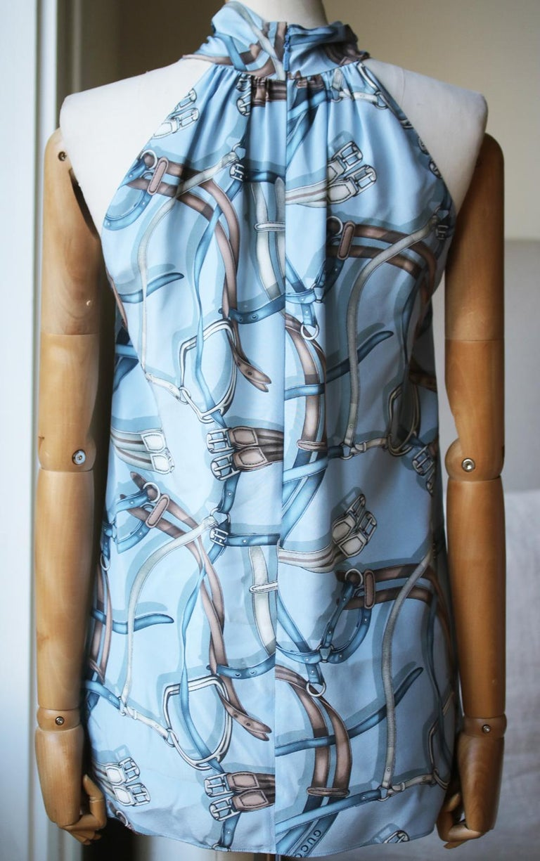 Gucci Equestrian-Print Silk Top  In Excellent Condition For Sale In London, GB