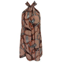 Gucci Equestrian Stirrup and Harness Silk Halter Tunic  48
