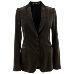 Gucci Espresso Brown Velvet Single Breasted Blazer US4