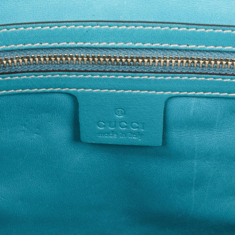 Gucci Exclusive Limited Edition Turquoise Crocodile Irina Tote Bag New For Sale 10