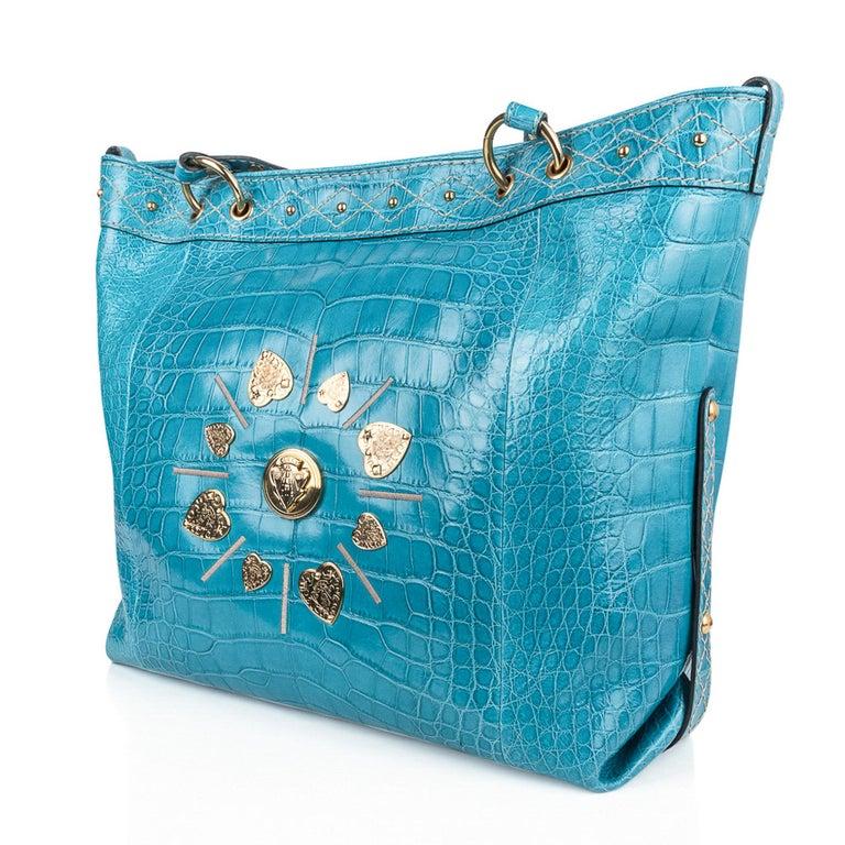 Gucci Exclusive Limited Edition Turquoise Crocodile Irina Tote Bag New In New Condition For Sale In Miami, FL