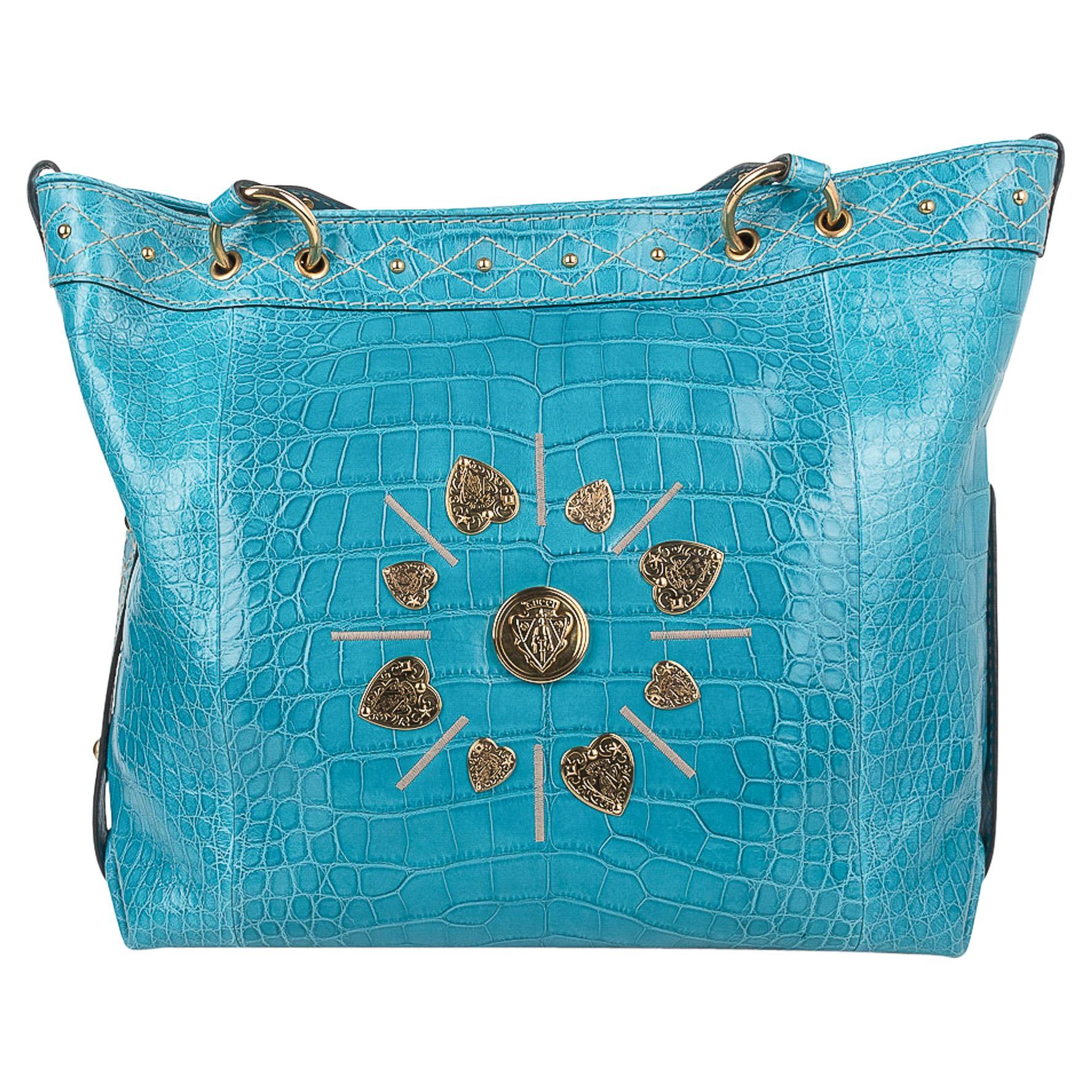 Gucci Exclusive Limited Edition Turquoise Crocodile Irina Tote Bag New
