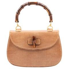 Gucci Exotic Brown Lizard Handbag with Bamboo Top Handle Bag