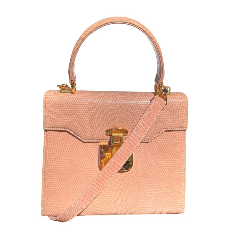 Gucci Exotic Lizard Blush Top Handle Kelly Style Shoulder Bag For Sale 5