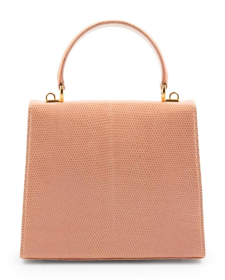 Orange Gucci Exotic Lizard Blush Top Handle Kelly Style Shoulder Bag For Sale