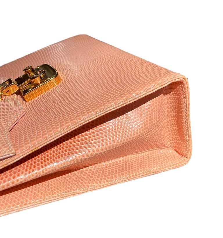 Gucci Exotic Lizard Blush Top Handle Kelly Style Shoulder Bag For Sale 4