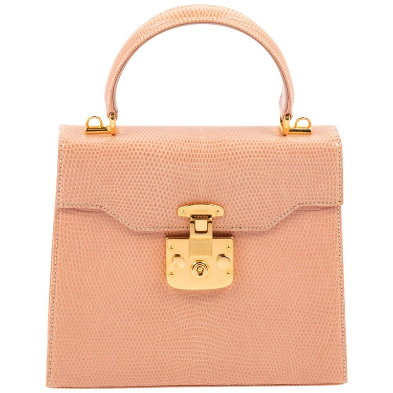Gucci Exotic Lizard Blush Top Handle Kelly Style Shoulder Bag For Sale