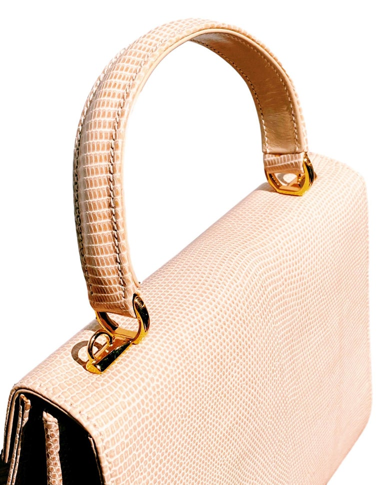 Gucci Exotic Lizard Taupe Top Handle Kelly Style Shoulder Bag For Sale 5