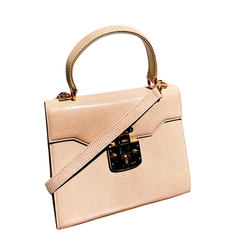 Gucci Exotic Lizard Taupe Top Handle Kelly Style Shoulder Bag For Sale 3