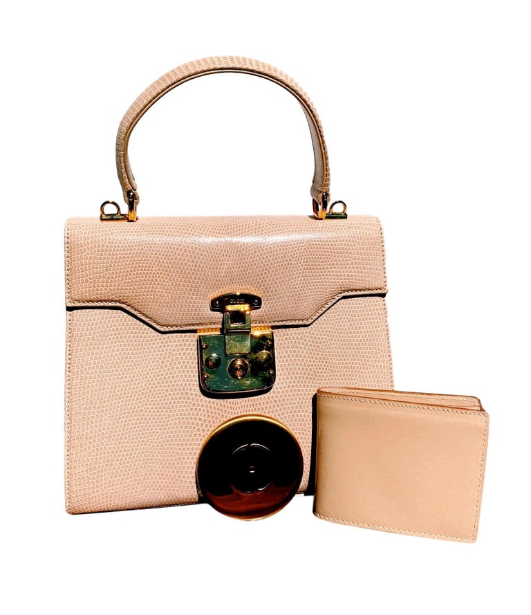 Gucci Exotic Lizard Taupe Top Handle Kelly Style Shoulder Bag For Sale 4