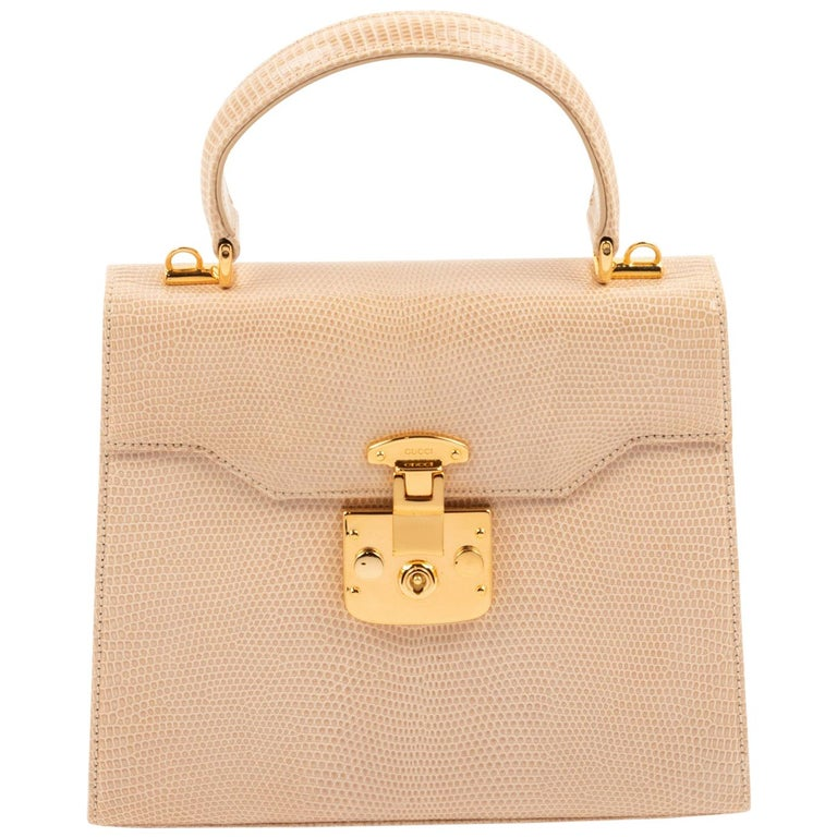 Gucci Exotic Lizard Taupe Top Handle Kelly Style Shoulder Bag For Sale