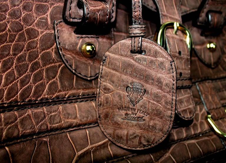 Gucci Exotic Matte Brown Crocodile XL Top Handle Bag Tote Weekender For Sale 6