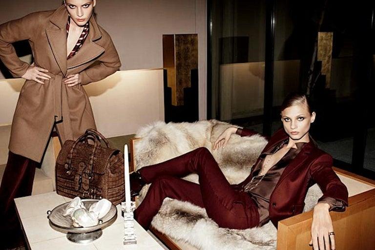 Gucci Exotic Matte Brown Crocodile XL Top Handle Bag Tote Weekender For Sale 10
