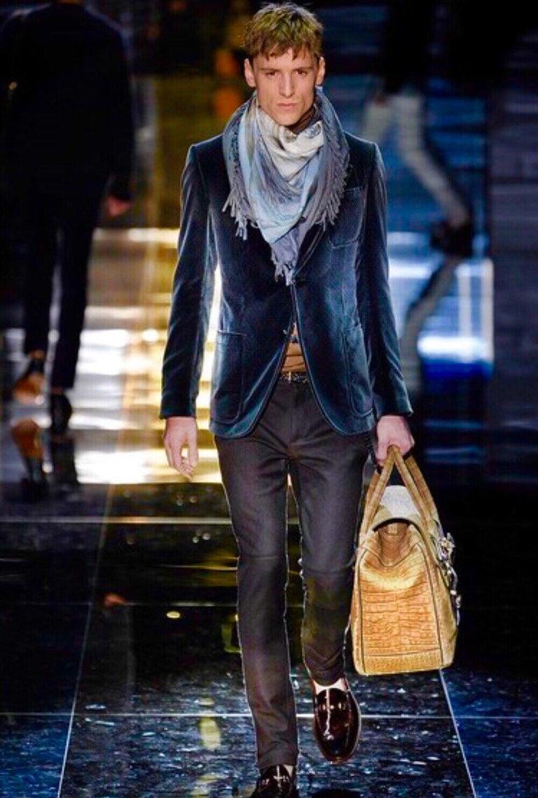 Gucci Exotic Matte Brown Crocodile XL Top Handle Bag Tote Weekender For Sale 11