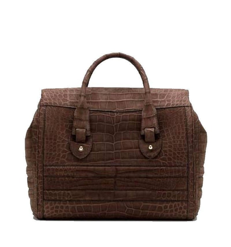 Gucci Exotic Matte Brown Crocodile XL Top Handle Bag Tote Weekender In Excellent Condition For Sale In Switzerland, CH