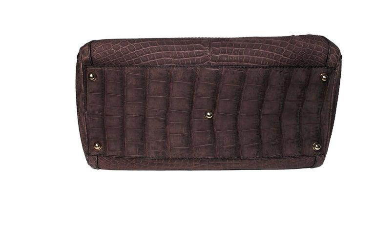 Gucci Exotic Matte Brown Crocodile XL Top Handle Bag Tote Weekender For Sale 3