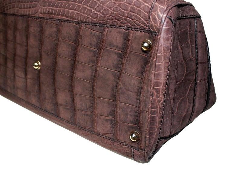 Gucci Exotic Matte Brown Crocodile XL Top Handle Bag Tote Weekender For Sale 4
